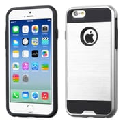 Insten Hard Hybrid Rubber Coated Silicone Cover Case For Apple iPhone 6/6s - Silver/Black (2185431)