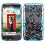 Insten Tuff Lace Flower Hard Cover Case For LG Optimus Exceed 2 VS450PP Verizon/Optimus L70 MS323/Realm LS620 - Blue (2002787)