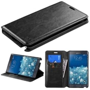 Insten Leather Fabric Case Cover Stand with Card Holder Slot For Samsung Galaxy Note Edge - Black (2032835)