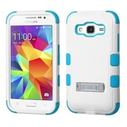 Insten Hard Hybrid Rubber Coated Silicone Cover Case w/stand For Samsung Galaxy Core Prime/Prevail - White/Blue (2068606)