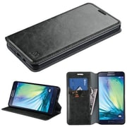 Insten Folio Leather Fabric Cover Case w/stand/card slot For Samsung Galaxy A7 - Black (2068702)