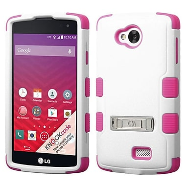Insten Hard Dual Layer Silicone Case w/stand For LG Optimus F60 - White/Hot Pink (2092070)