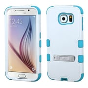Insten Hard Hybrid Shockproof Rubber Coated Silicone Cover Case with Stand For Samsung Galaxy S6 - White/Blue (2096534)