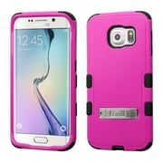 Insten Hard Hybrid Rugged Shockproof Silicone Cover Case with Stand For Samsung Galaxy S6 Edge - Hot Pink/Black (2107592)
