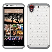 Insten Hard Hybrid Rubber Coated Silicone Case w/Diamond For HTC Desire 626/626s - White/Gray (2136643)