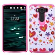 Insten Heart Graffiti Hard Hybrid Rubberized Silicone Cover Case For LG V10 - Hot Pink/White (2178149)