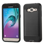 Insten Hard Hybrid Rubber Coated Silicone Cover Case For Samsung Galaxy J3, Black (2195513)