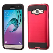 Insten Hard Hybrid Rubberized Silicone Case For Samsung Galaxy J3 - Red/Black (2195517)