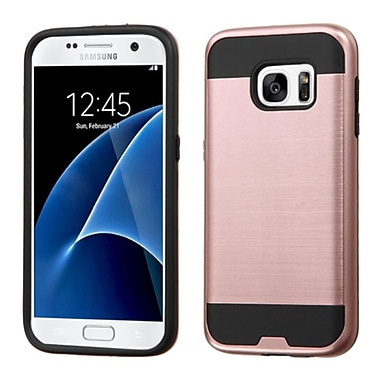 Insten Hard Dual Layer Rubber Coated Silicone Cover Case For Samsung Galaxy S7, Rose Gold/Black (2195611)