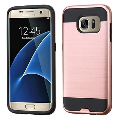 Insten Hard Dual Layer Rubber Coated Silicone Cover Case For Samsung Galaxy S7 Edge, Rose Gold/Black (2205048)