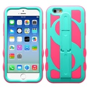 Insten Dollar Hard Hybrid Rubber Coated Silicone Case with Stand For Apple iPhone 6 6S - Blue/Hot Pink (1952444)