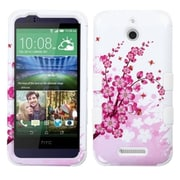 Insten Spring Flowers Hard Dual Layer Rubberized Silicone Case For HTC Desire 510 - Pink/White (2011521)