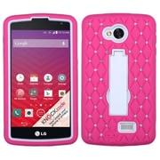 Insten Symbiosis Hybrid Stand Hard Case w/ Diamond For LG Optimus F60 LG Tribute LS660 - Hot Pink/White (2030136)