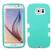 Insten Tuff Hard Dual Layer Rubber Silicone Case For Samsung Galaxy S6 - Teal Green/White (2091616)