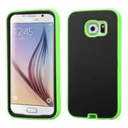 Insten Verge Hard Hybrid Rugged Shockproof Rubber Coated Silicone Case For Samsung Galaxy S6 - Black/Green (2107674)