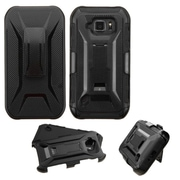 Insten Hard Dual Layer Plastic Silicone Case w/Holster For Samsung Galaxy S6 Active - Black (2130151)