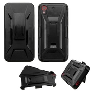 Insten Hard Hybrid Rugged Shockproof Plastic Silicone Cover Case w/Holster For HTC Desire 626/626s - Black (2141003)