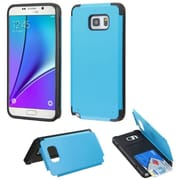 Insten Hard Rubberized Case w/card holder For Samsung Galaxy Note 5 - Teal (2147940)