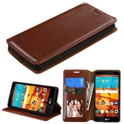 Insten Folio Leather Fabric Cover Case w/stand/card slot/Photo Display For LG Magna/Volt 2 - Brown (2162953)