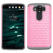 Insten Hard Hybrid Rubber Coated Silicone Case w/Diamond For LG V10 - Pink/Gray (2166529)
