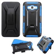 Insten Hard Dual Layer Plastic Silicone Case w/Holster For Samsung Galaxy Grand Prime - Black/Blue (2172608)