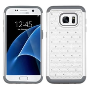 Insten Hard Hybrid Rubber Coated Silicone Cover Case w/Diamond For Samsung Galaxy S7 - White/Gray (2195493)