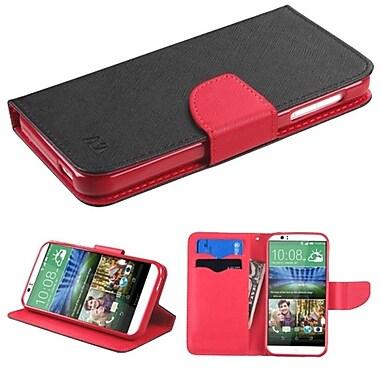 Insten ? Étui en cuir à rabat-support avec porte-carte pour HTC Desire 510, noir/rouge (2011236)