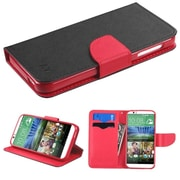 Insten Book-Style Leather Fabric Cover Case w/stand/card holder For HTC Desire 510 - Black/Red (2011236)