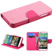 Insten Flip Leather Fabric Cover Case w/stand/card holder For HTC Desire 510 - Pink (2011237)