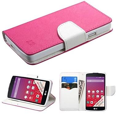 Insten ? Étui portefeuille en cuir pour LG Optimus F60/Tribute LS660/MS395/Transpyre VS810PP, rose vif/blanc (2026172)
