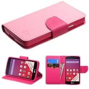 Insten Pink/Hot Pink Leather Wallet Case Stand For LG Optimus F60/Tribute LS660/MS395/Transpyre VS810PP (2026173)