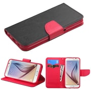 Insten Flip Leather Fabric Case w/stand/card slot For Samsung Galaxy S6 - Black/Red (2092052)