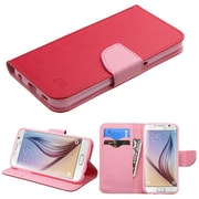 Insten Flip Leather Fabric Cover Case w/stand/card slot For Samsung Galaxy S6 - Red/Pink (2092053)