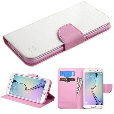 Insten Folio Leather Fabric Case With Stand/Card Holder For Samsung Galaxy S6 Edge, White/Pink (2102230)