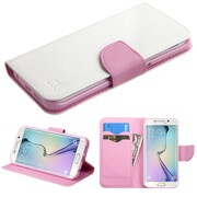 Insten Folio Leather Fabric Case w/stand/card holder For Samsung Galaxy S6 Edge - White/Pink (2102230)