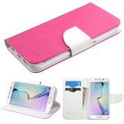 Insten Book-Style Leather Fabric Cover Case w/stand/card holder For Samsung Galaxy S6 Edge - Hot Pink/White (2102231)