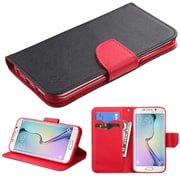 Insten Folio Leather Fabric Cover Case w/stand/card slot For Samsung Galaxy S6 Edge - Black/Red (2102232)