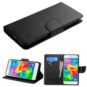 Insten Folio Leather Fabric Cover Case w/stand/card slot For Samsung Galaxy Grand Prime - Black (2117651)