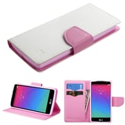 Insten Book-Style Leather Fabric Case w/stand/card slot For LG Spirit 4G - White/Pink (2119388)