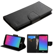 Insten Book-Style Leather Fabric Cover Case w/stand/card holder For LG Spirit 4G - Black (2119390)