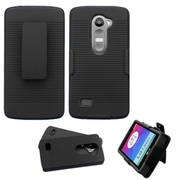 Insten Hard Hybrid Rugged Shockproof Rubber Coated Silicone Case w/Holster For LG Leon/Tribute 2 - Black (2130103)