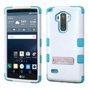 Insten Hard Hybrid Rubber Silicone Case w/stand For LG G Stylo - White/Teal (2130118)