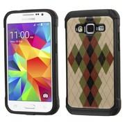 Insten Argyle Hard Dual Layer Rubber Silicone Cover Case For Samsung Galaxy Core Prime - Brown/Black (2162282)