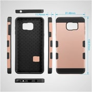 Insten Dual Layer Hybrid Shockproof Hard PC/TPU Rubber Case For Samsung Galaxy Note 5 - Rose Gold/Black (2177773)