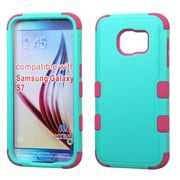 Insten Tuff Hard Dual Layer Rubber Coated Silicone Cover Case For Samsung Galaxy S7 - Teal/Hot Pink (2195462)