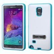 Insten Hard Dual Layer Rubber Silicone Case w/stand For Samsung Galaxy Note 4 - White/Blue (2011423)