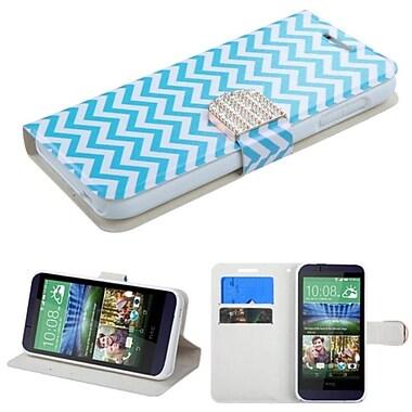 Insten ? Étui en cuir à rabat-support avec porte-cartes/diamants pour HTC Desire 510, vagues, bleu/blanc (2046052)