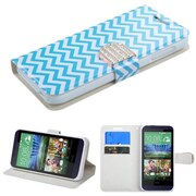 Insten Wave Book-Style Leather Fabric Cover Case w/stand/card holder/Diamond For HTC Desire 510 - Blue/White (2046052)
