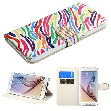 Insten Zebra Flip Leather Fabric Case With Stand/Card Holder/Diamond For Samsung Galaxy S6, Colourful (2099589)
