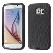 Insten Verge Carbon Fiber Hard Dual Layer Rubber Silicone Cover Case For Samsung Galaxy S6 - Black (2112778)